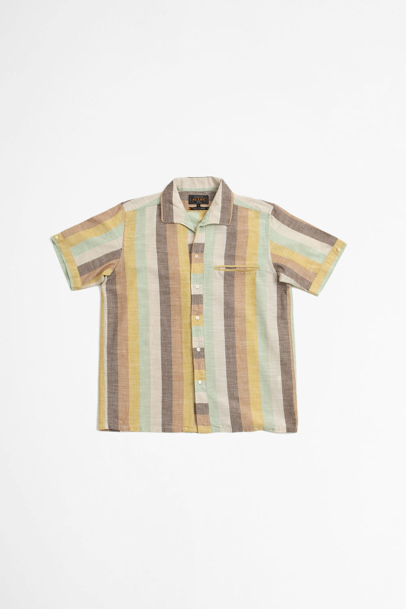 Italian collar slab multi stripe shirt brown