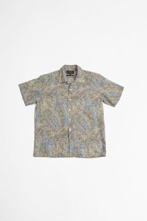 Open collar linen shirt paisley blue