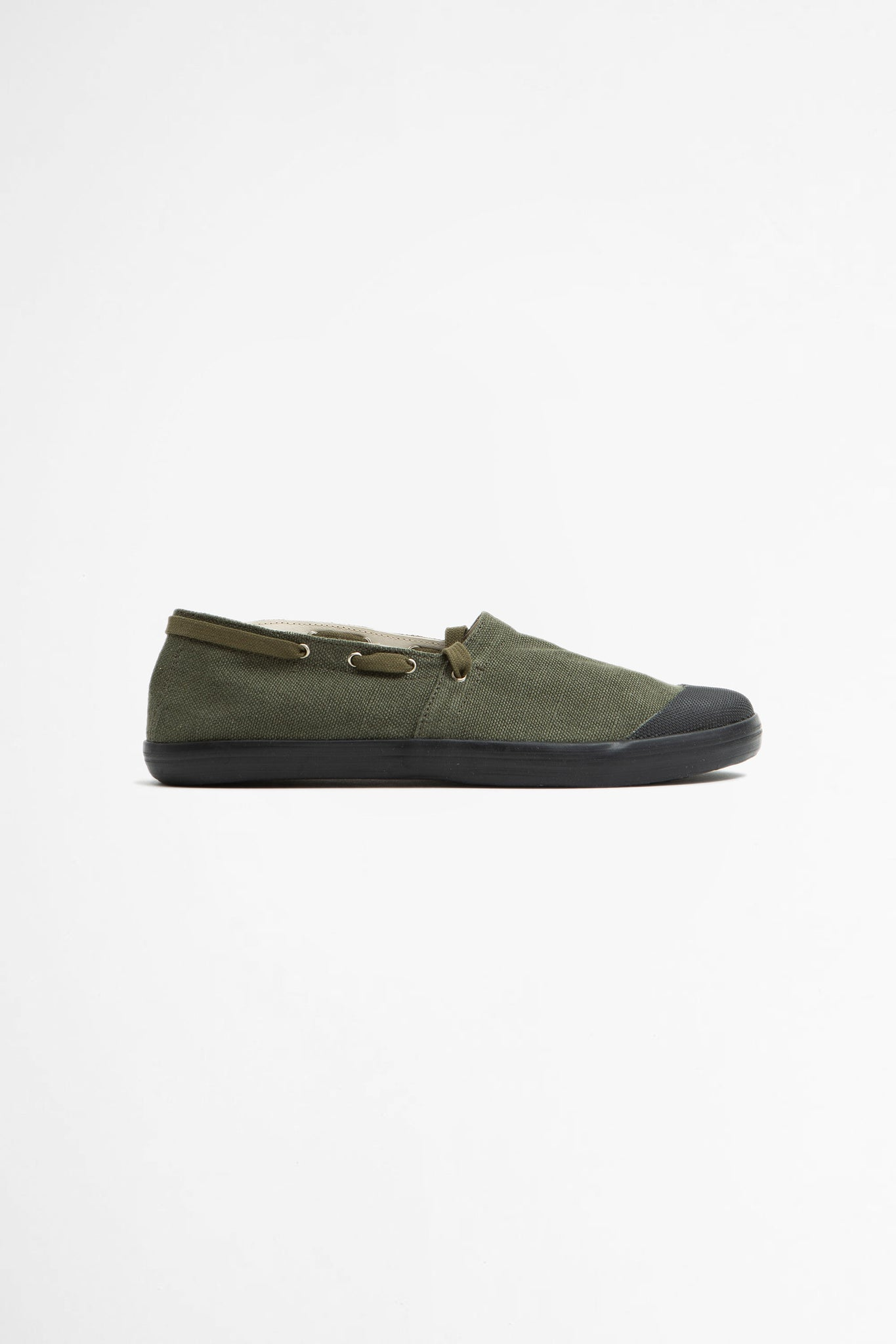 French military espadrilles olive/black sole