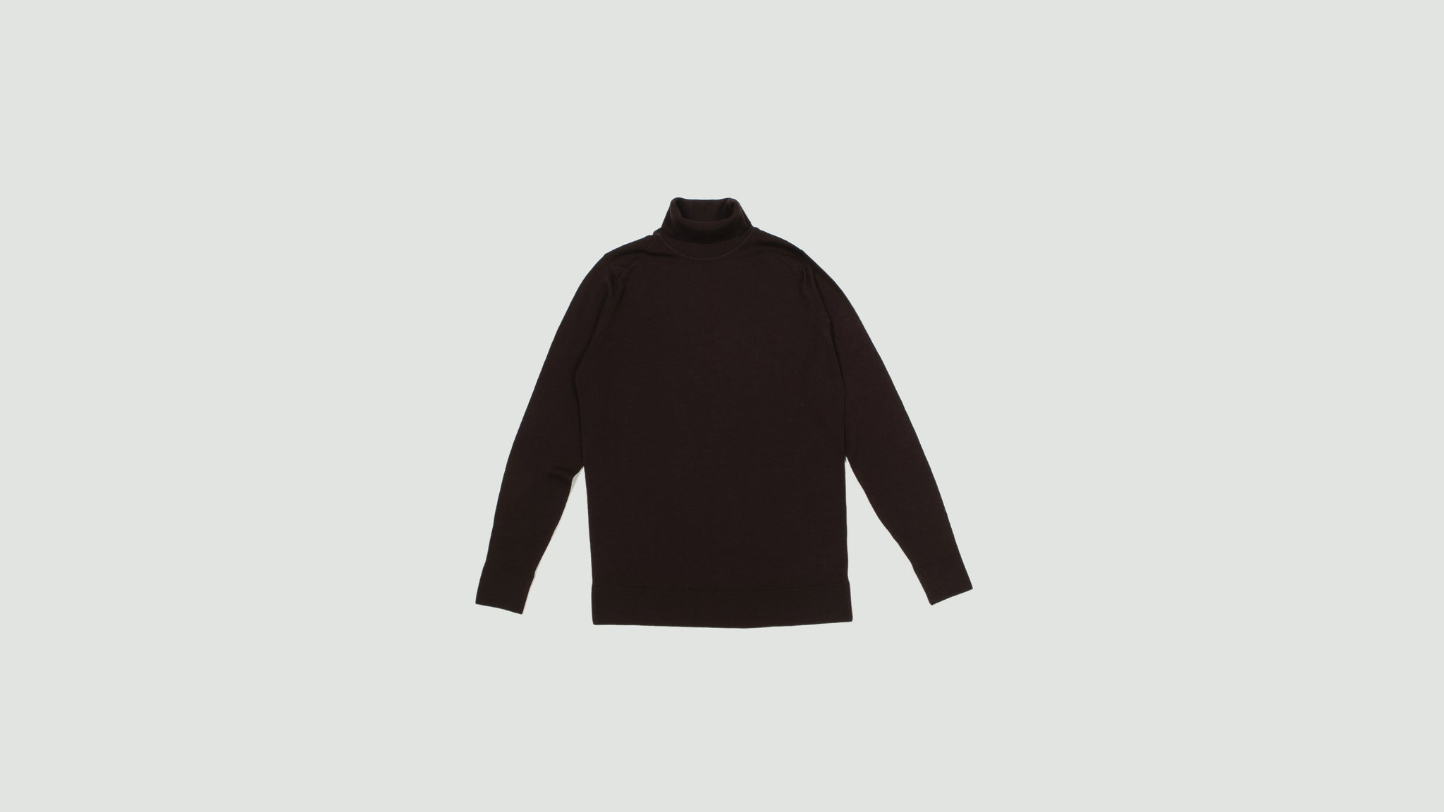 Sunspel. Long sleeve roll neck mosto brown