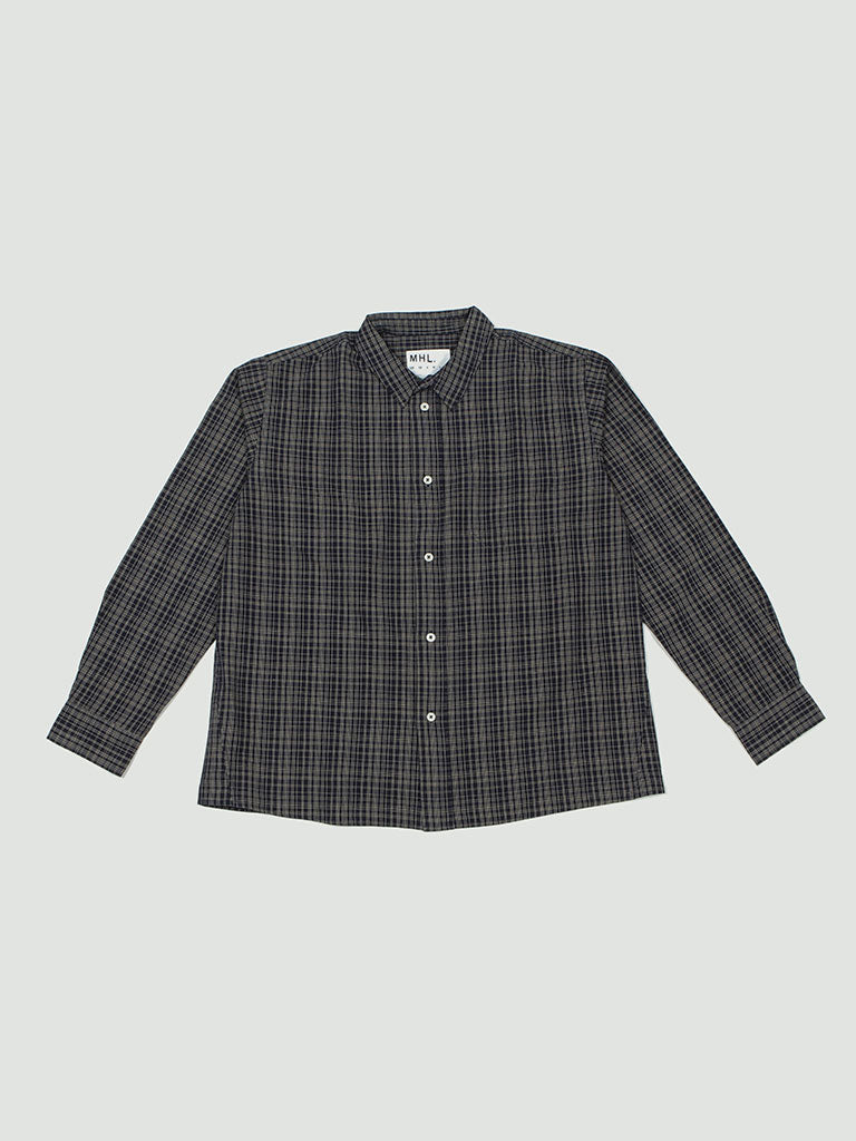 Margaret Howell. Painters shirt offset check cotton linen navy/natural