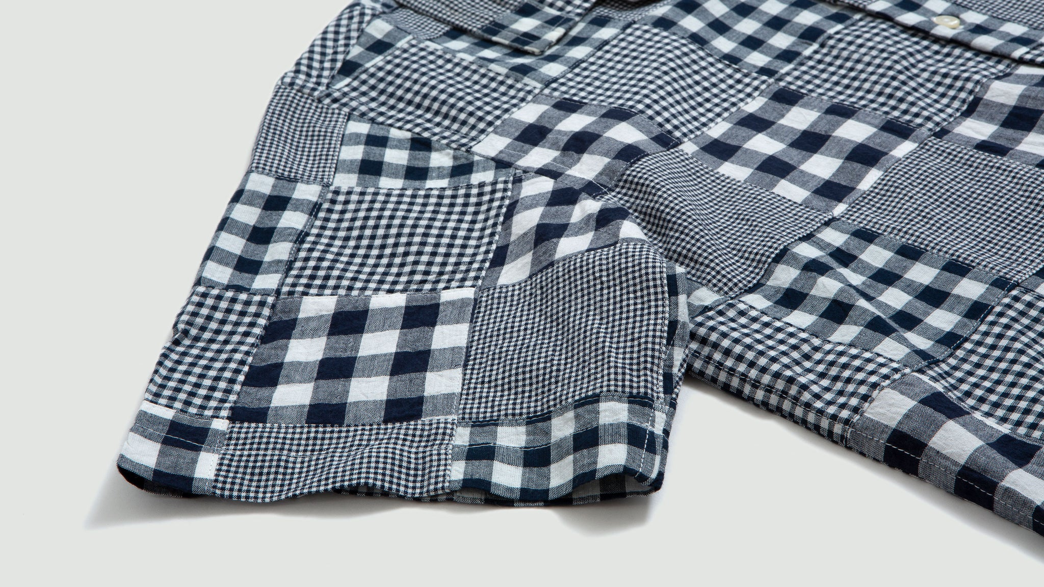 Universal Works. Patchwork madras road shirt blue/white
