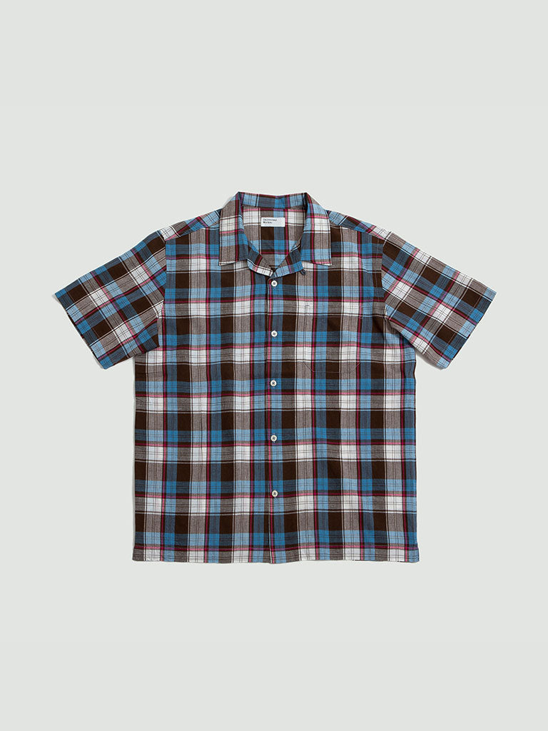 Universal Works. Check 3 road shirt blue/brown