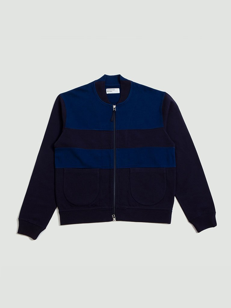 Universal Works. Loopback panel caris jacket in blues
