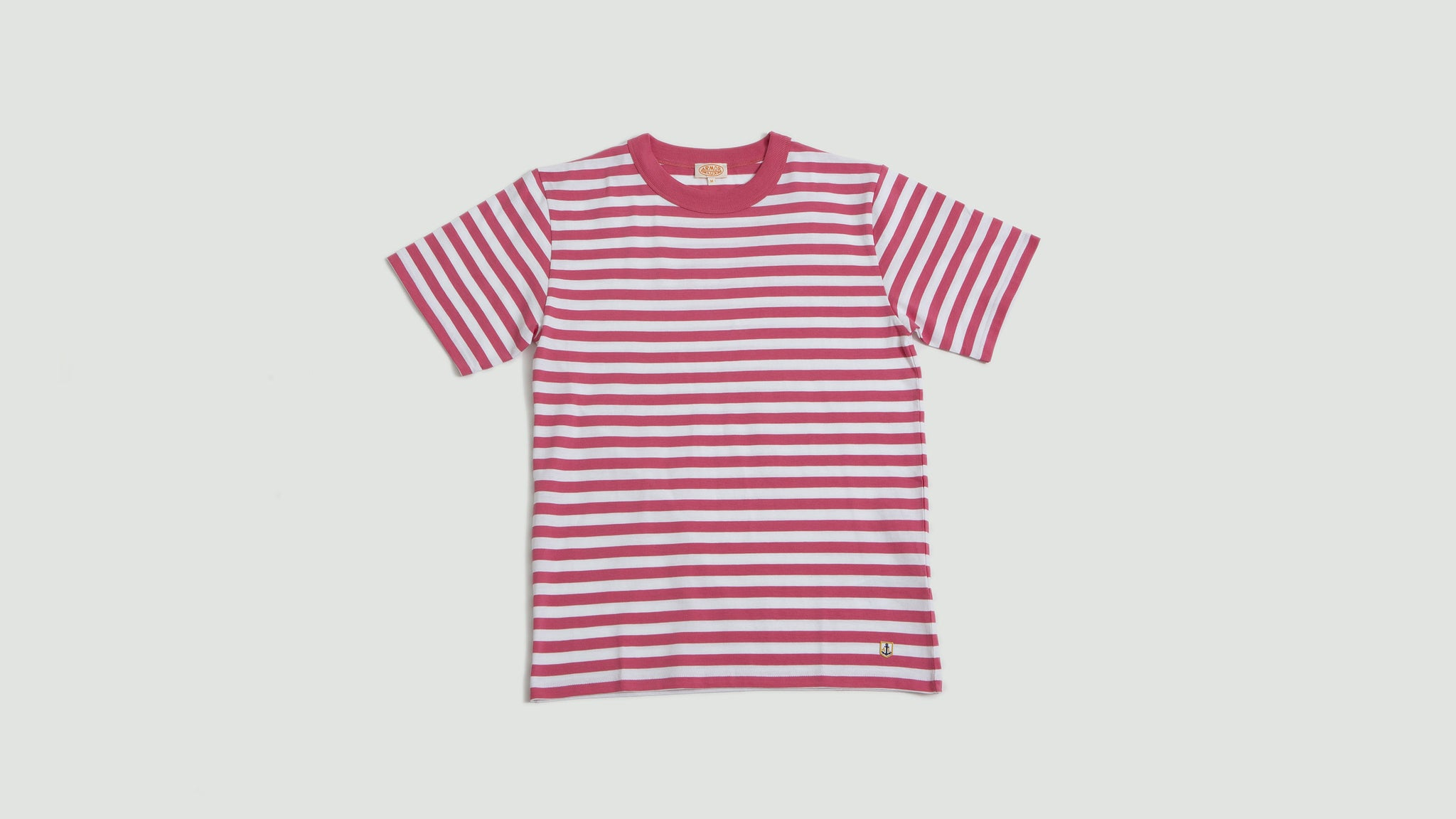 Armor Lux. T-shirt MC Heritage new pink/blanc