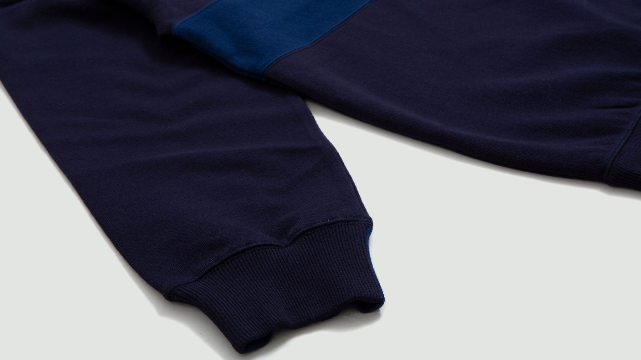Universal Works. Loopback panel sweatshirt blues
