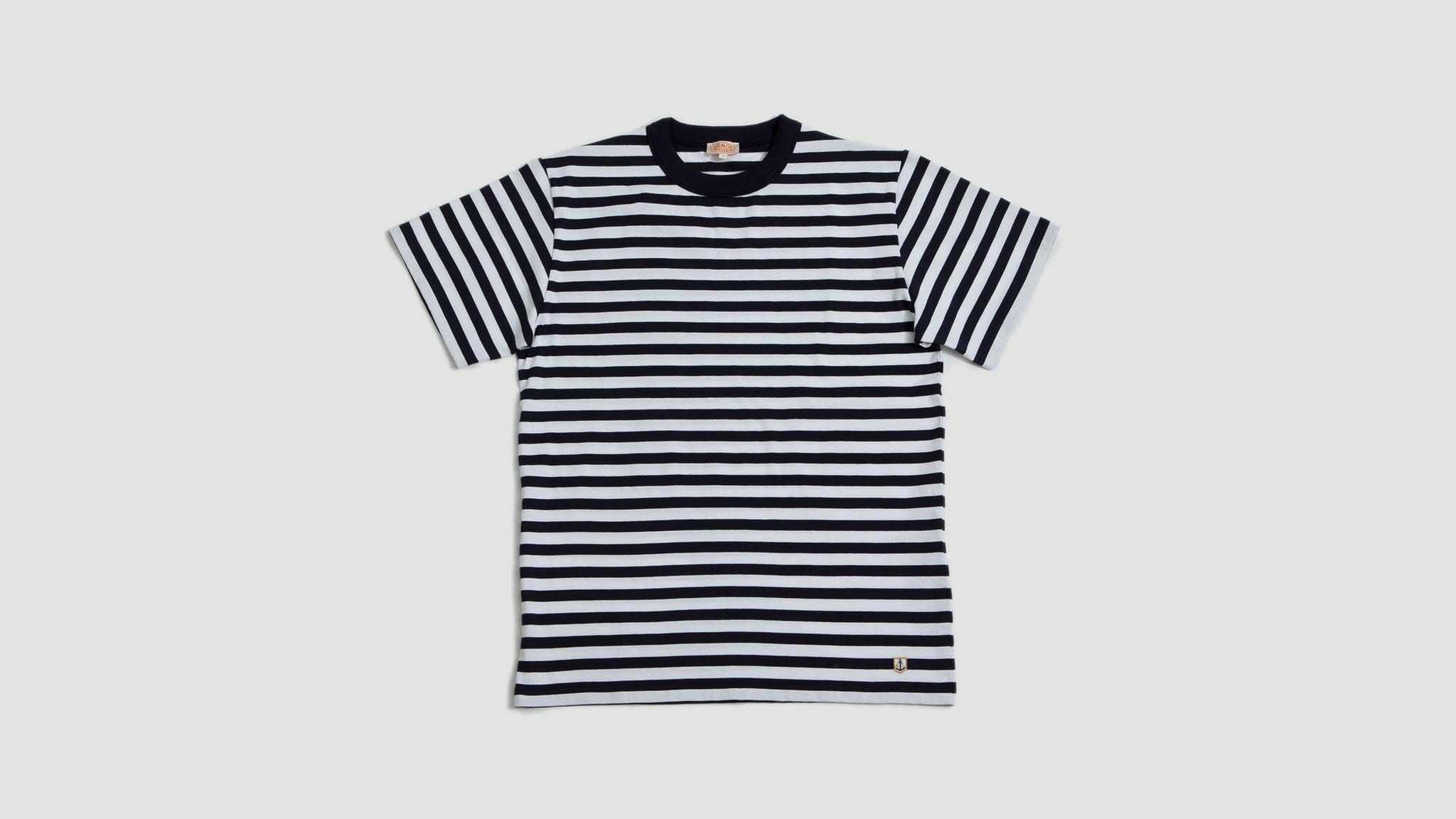 Armor Lux. T-shirt MC Heritage navy/white