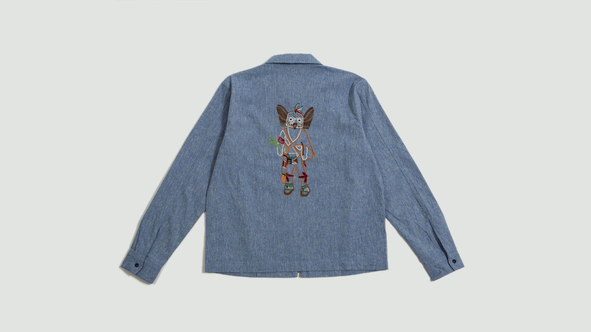 Embroidered Bowie zip shirt light blue