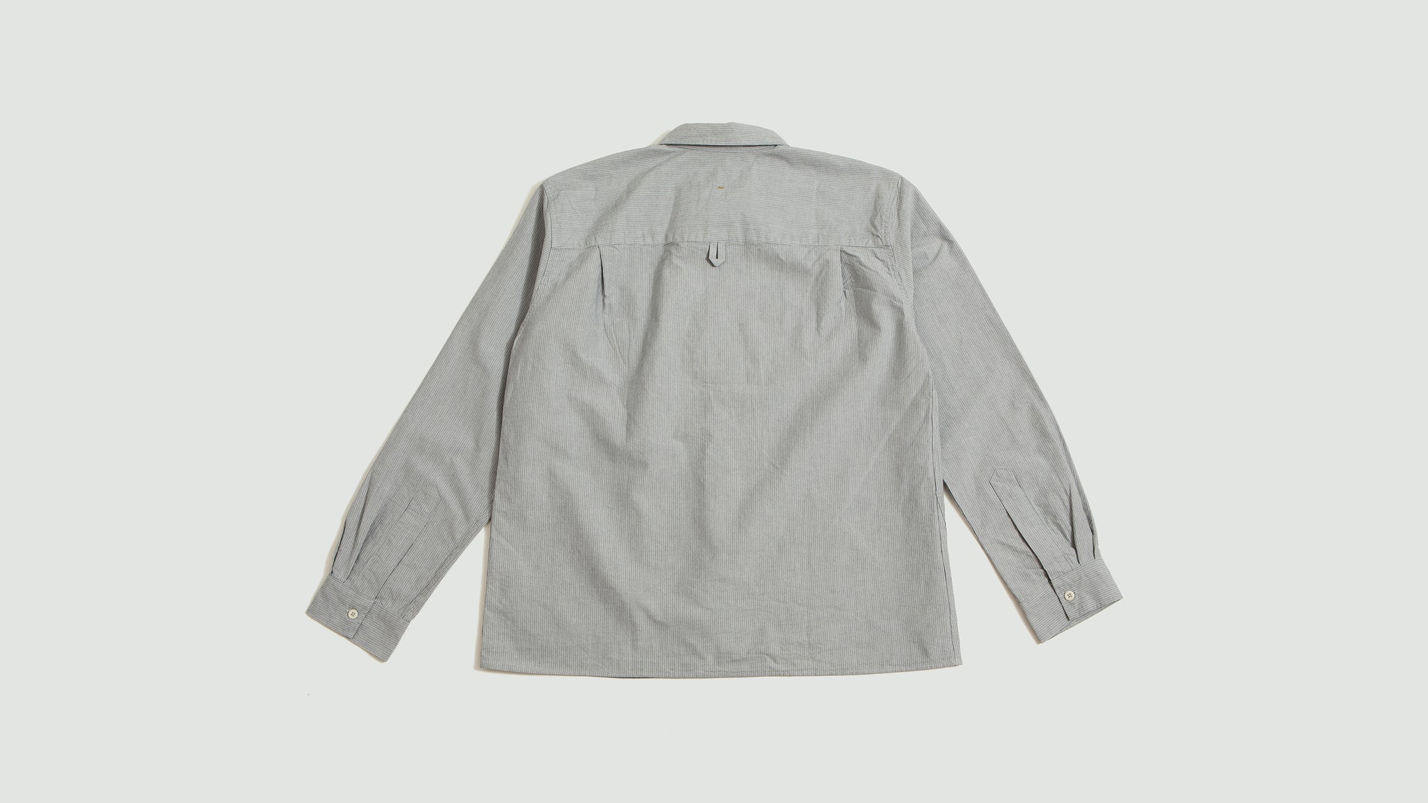 Margaret Howell. Painters shirt tiny stripe blue/offwhite