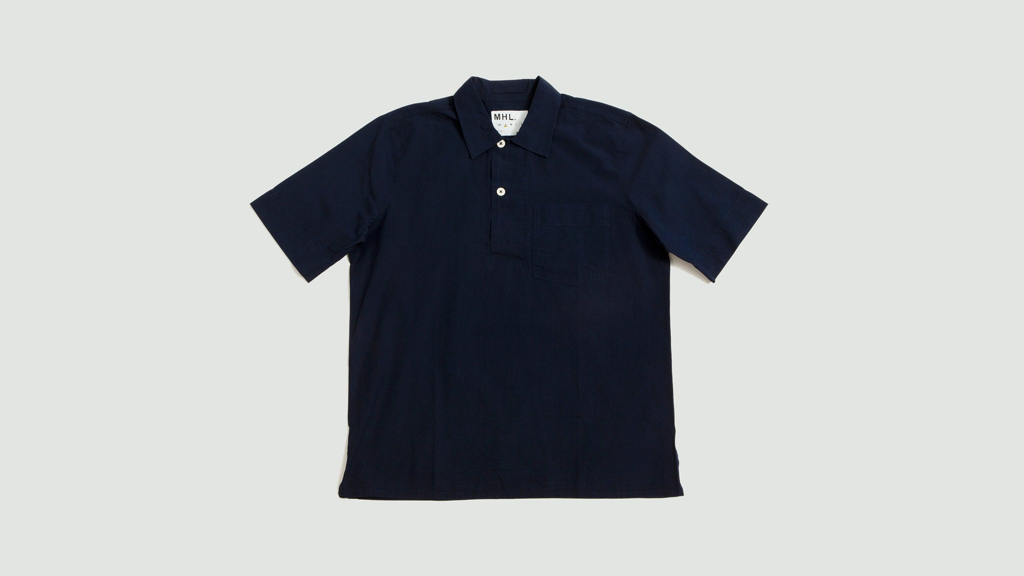 Wide placket polo shirt poplin indigo