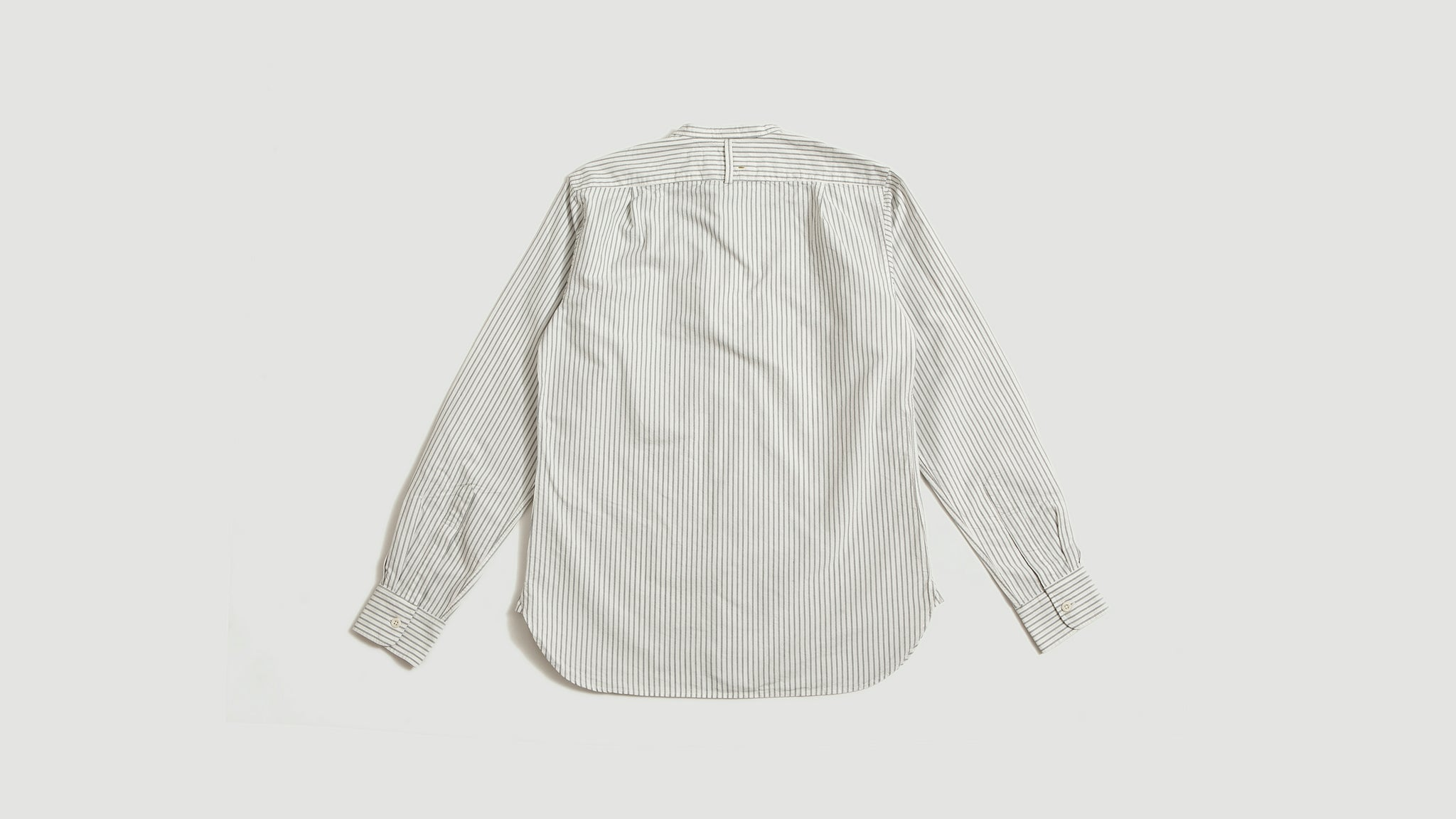 Margaret Howell. Collarless shirt stripe offwhite/blue