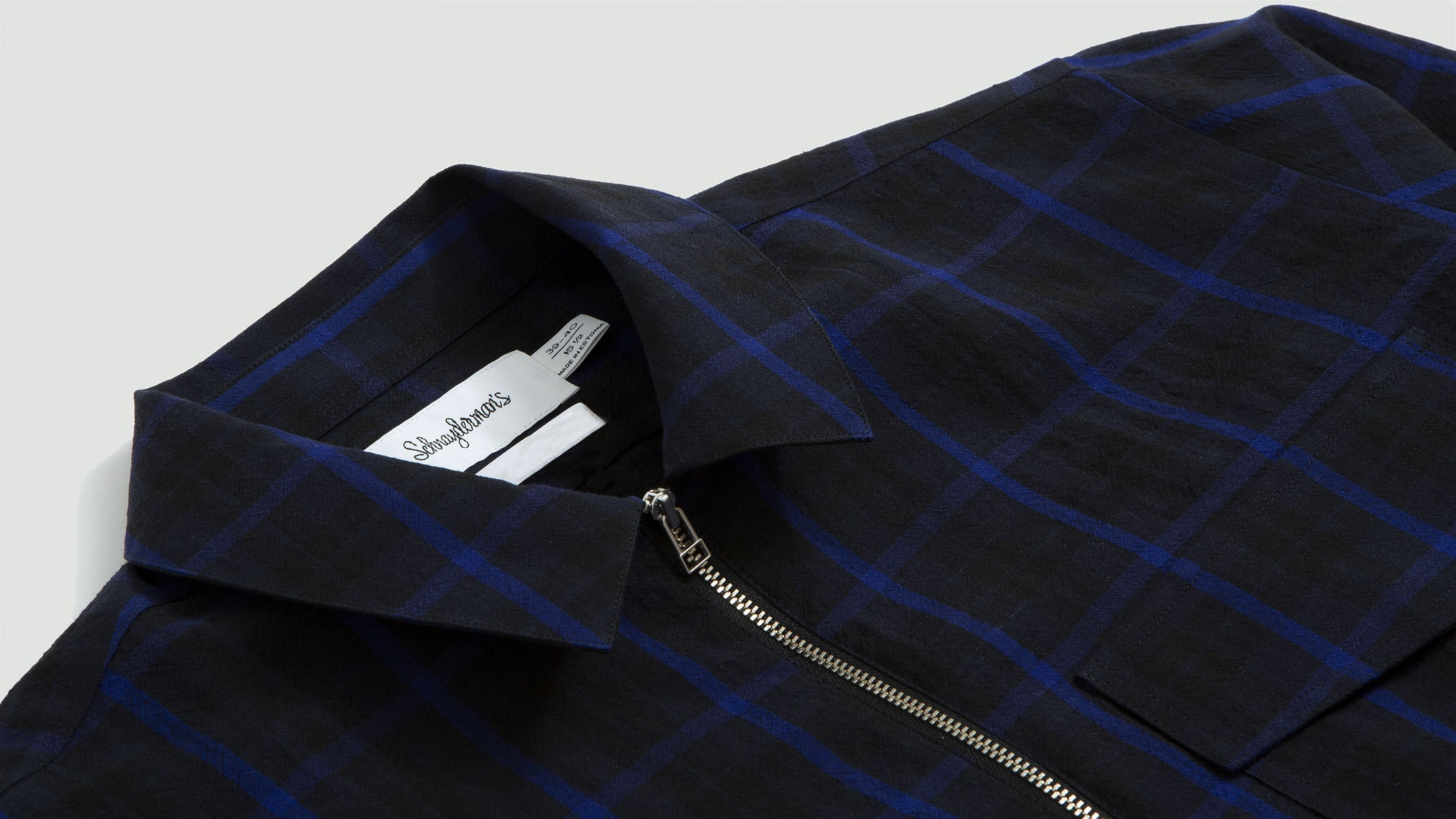 Schnaydermans. Zipshirt wool window pane dark blue