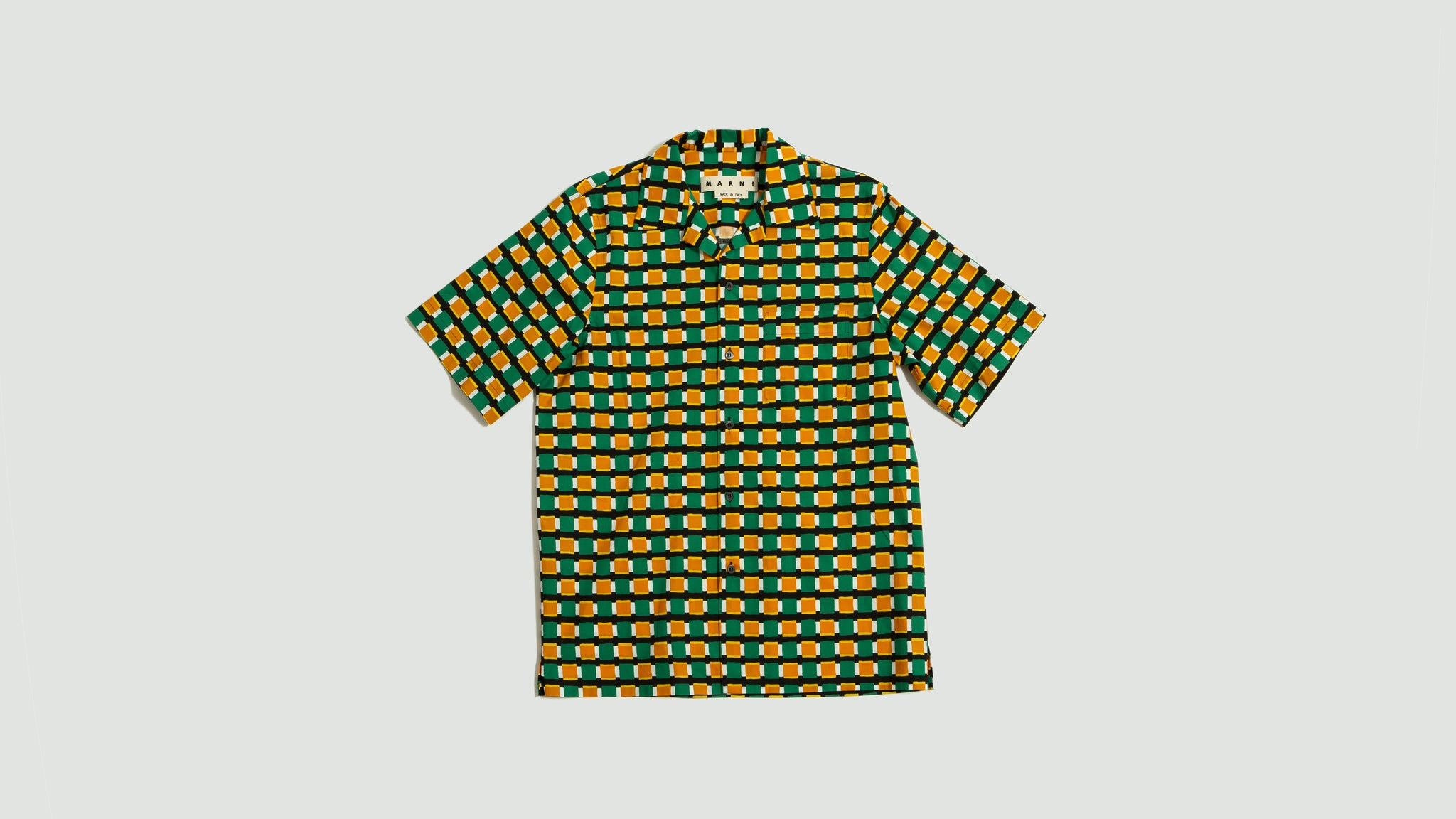 Marni. Mobility print cotton poplin shirt green/yellow