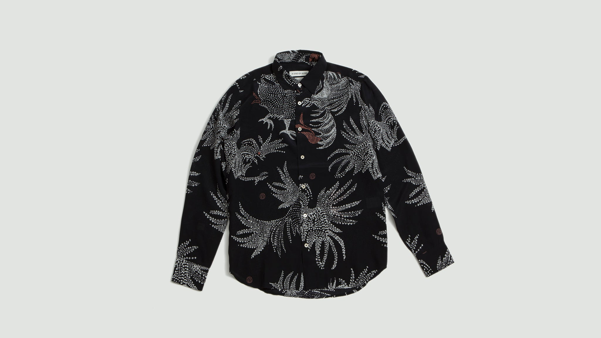 A Kind of Guise. Flores shirt silk black rooster