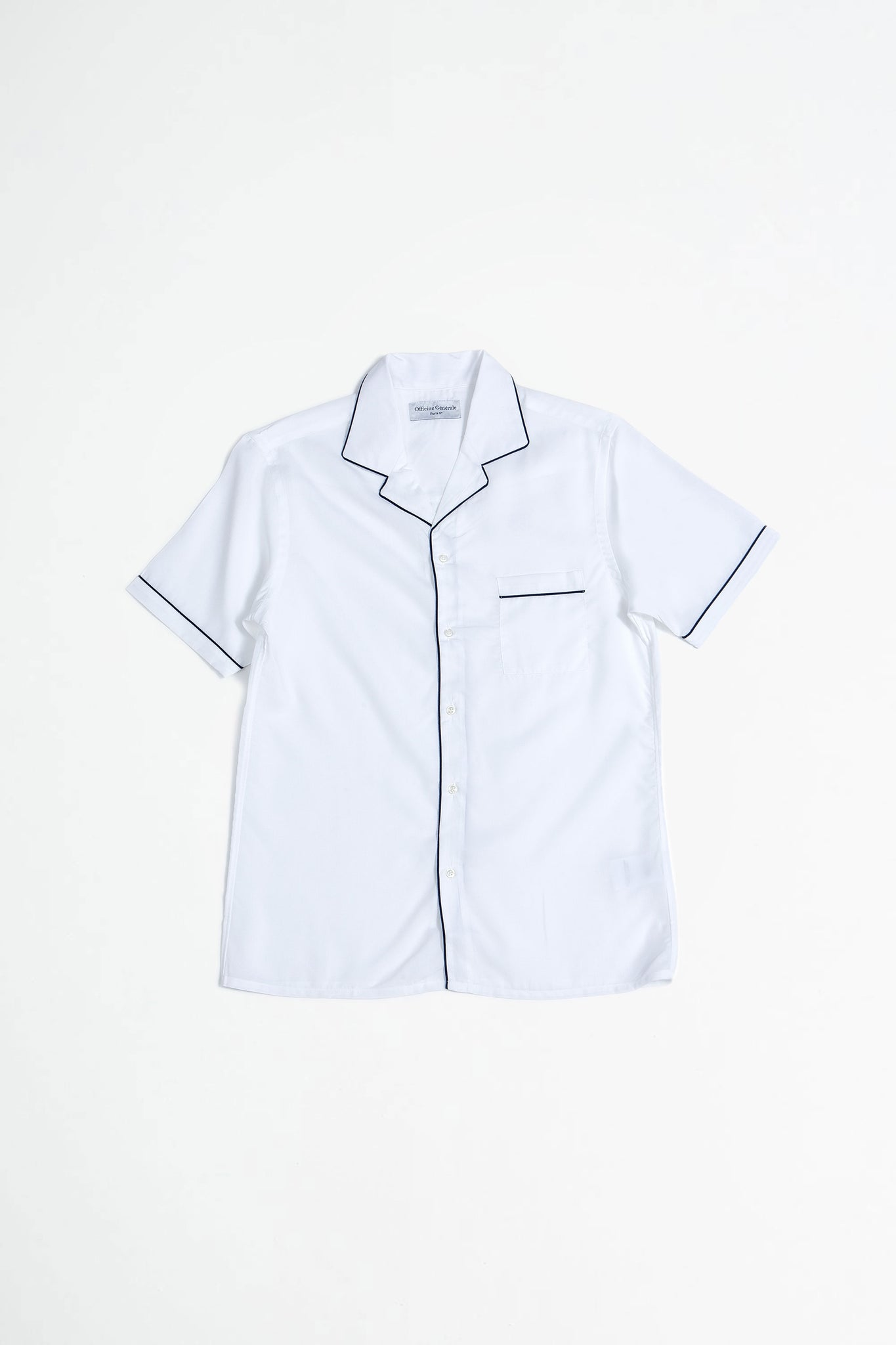 Jeffrey piping tencel shirt white/navy