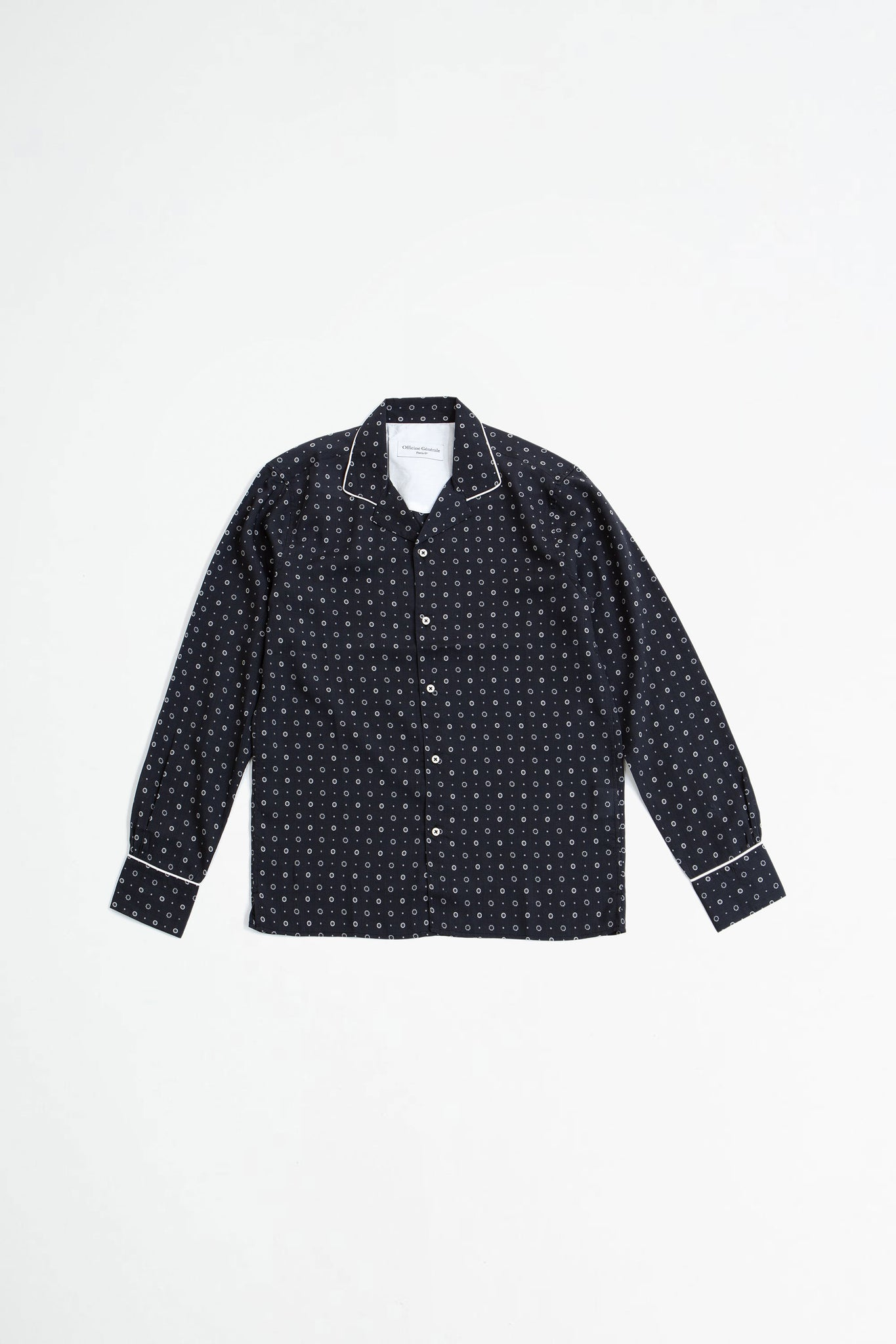 Dario shirt piping printed tencel b/w