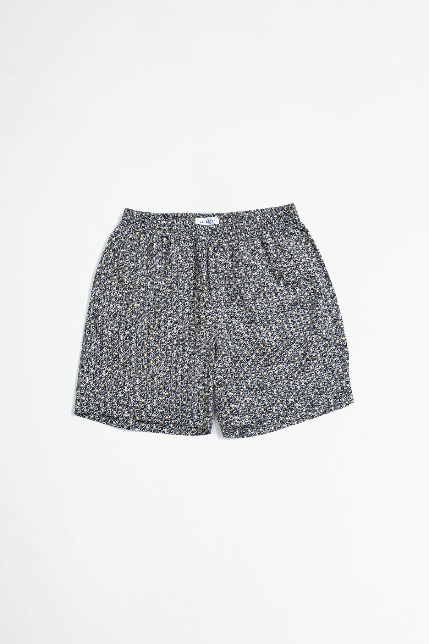 Front shorts navy tiles