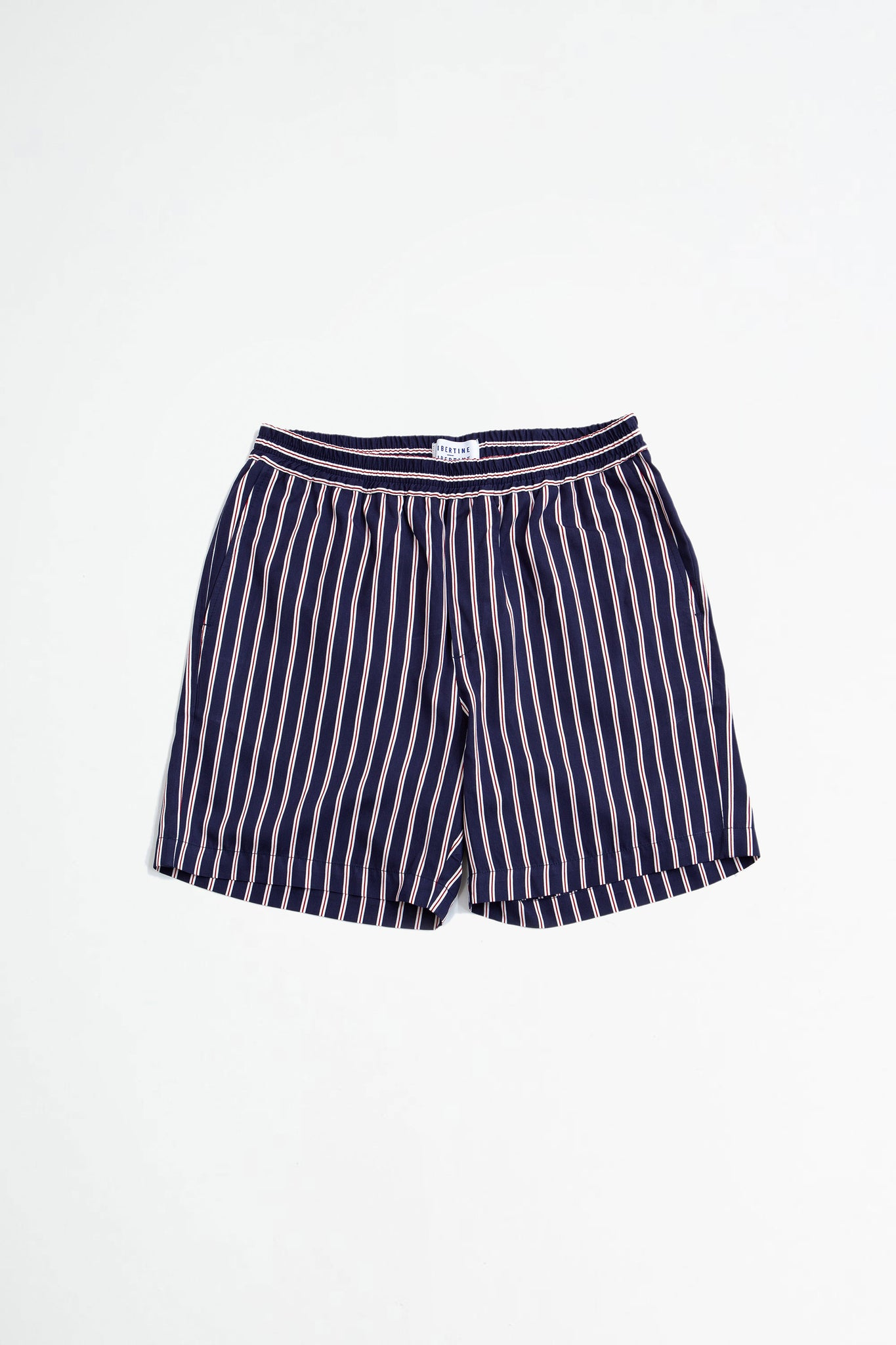 Front shorts navy red