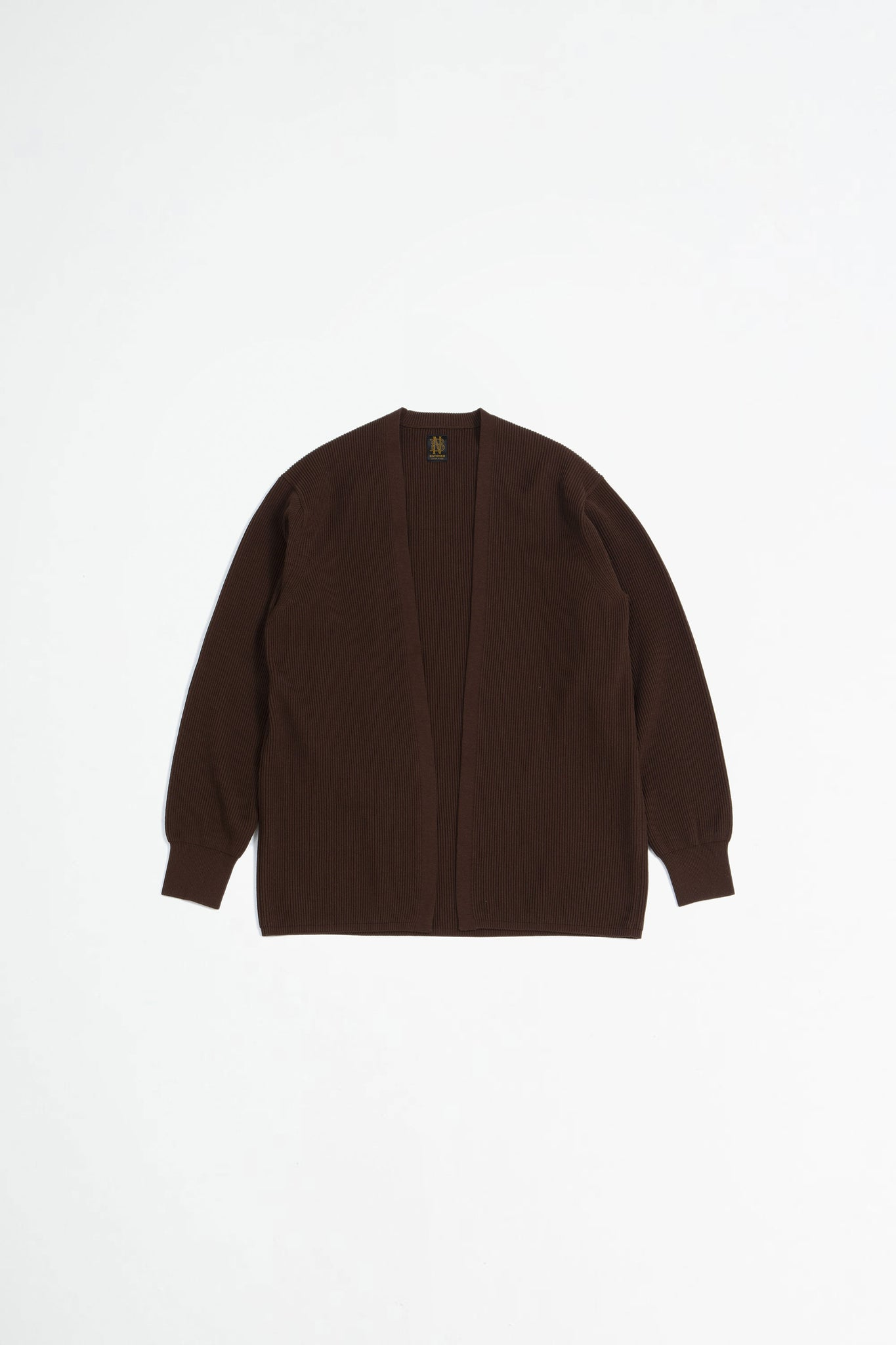 High count rib topper cardigan brown