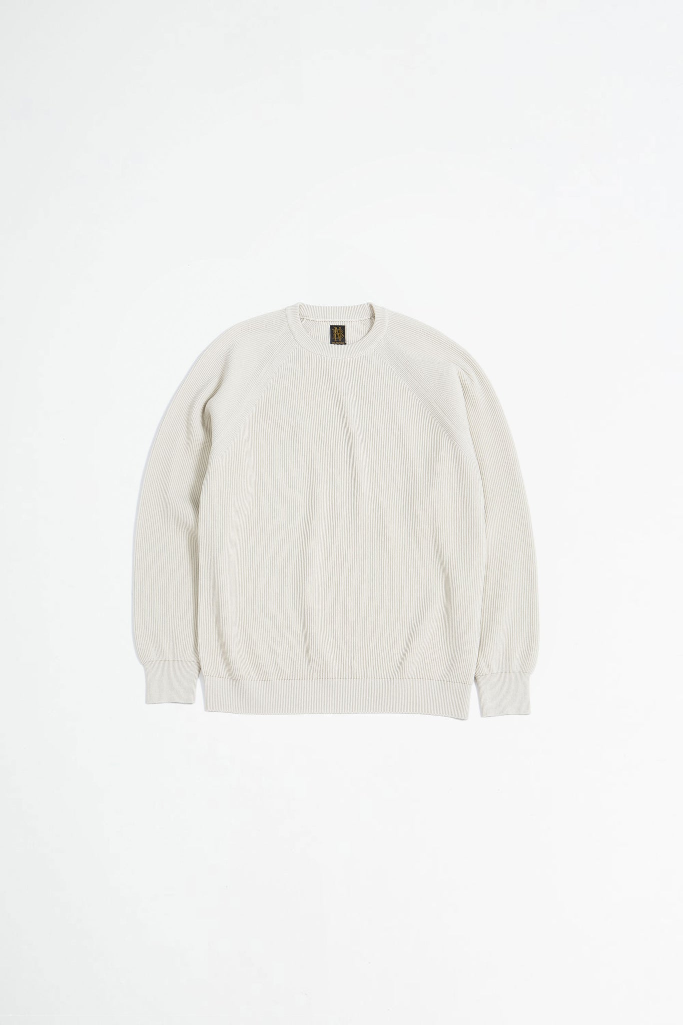 High count rib crewneck ivory