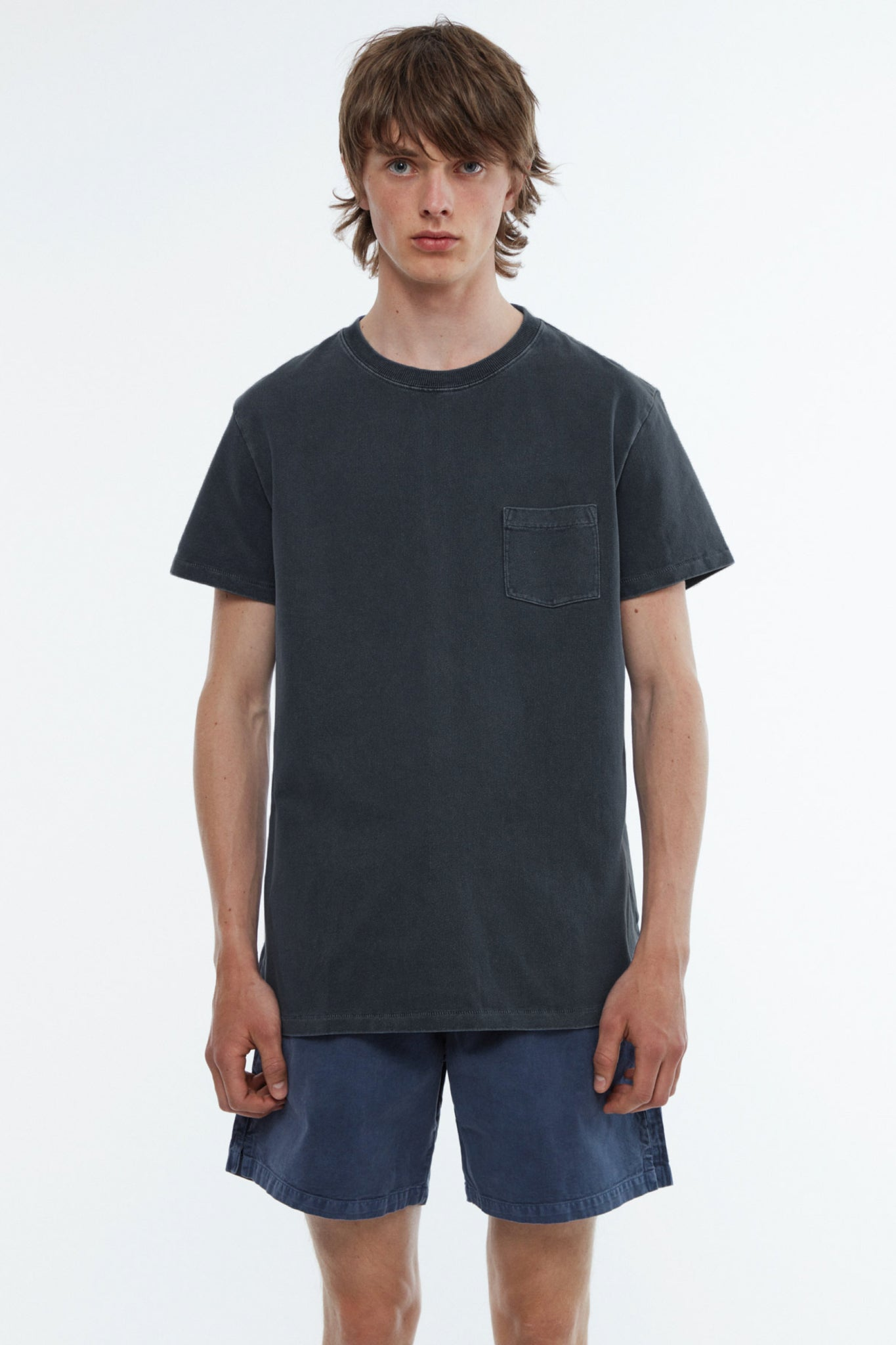 T-shirt jersey garment dyed black