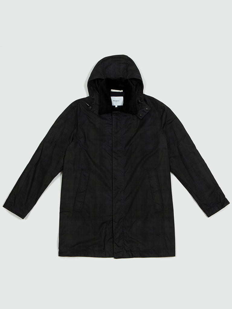Norse Projects. Trondheim waxed cotton black watch check