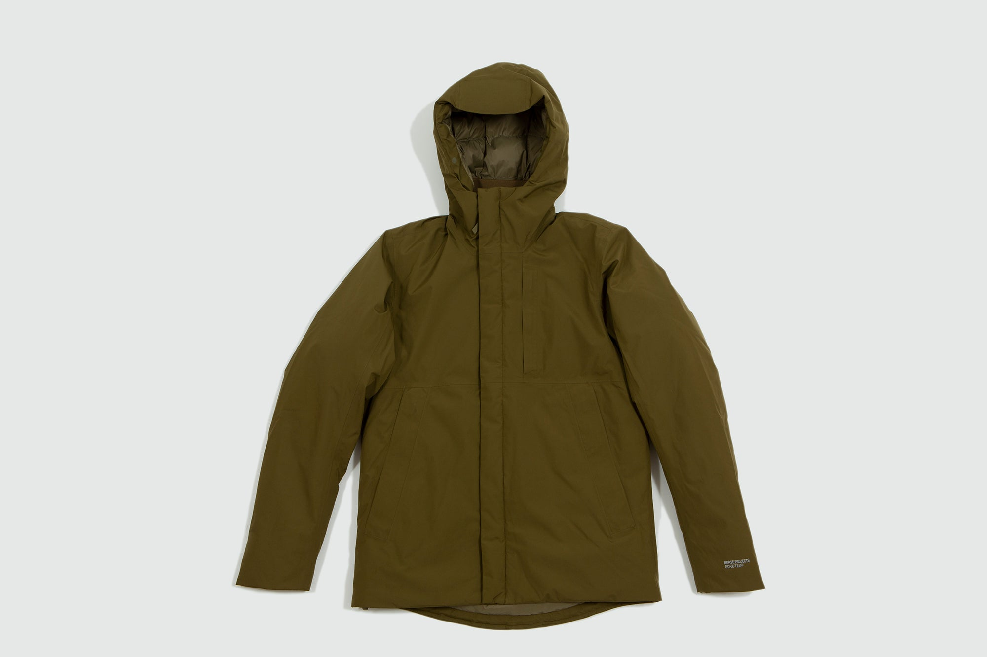 Norse Projects. Fyn down Gore Tex jacket sitka green