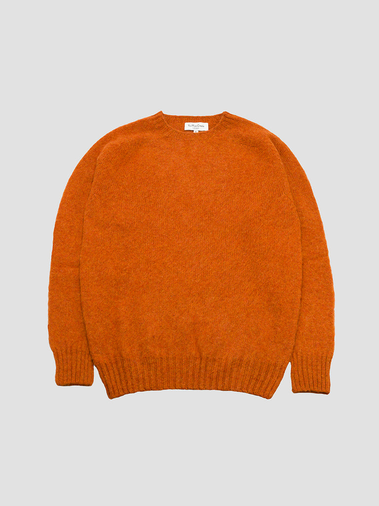 Suedehead crew in rust knitted in Scotland by You Must Create