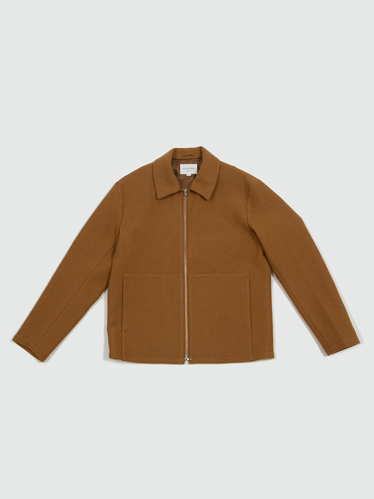Still by Hand. Loop yarn zip-up blouson camel