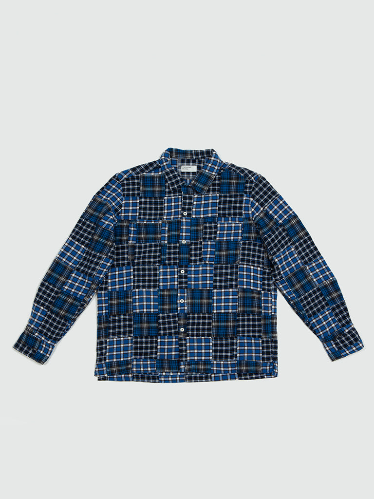 Universal Works. Garage shirt II patchwork blue