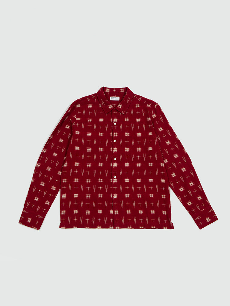 Universal Works. Garage shirt Ikat red
