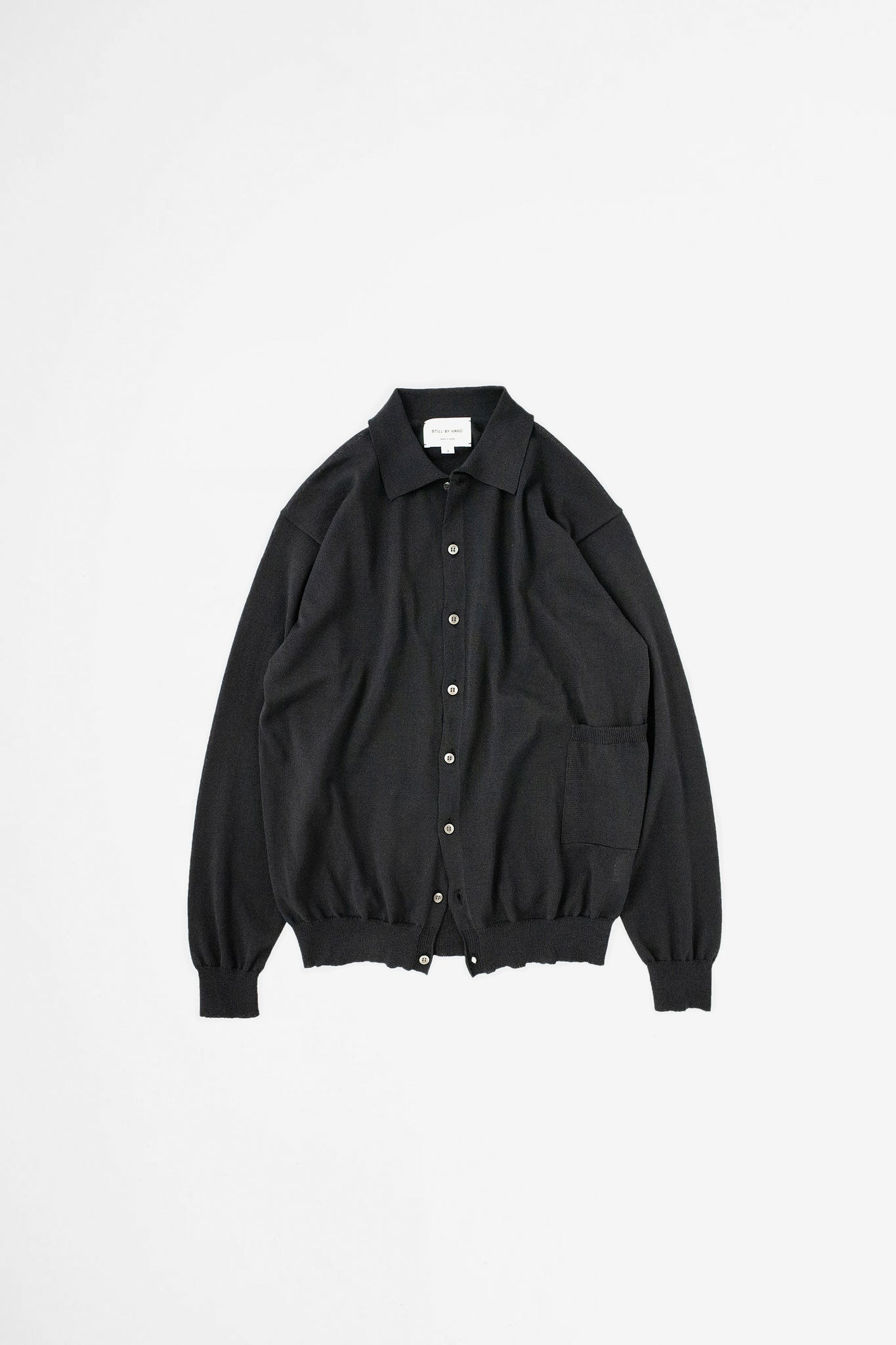 Spread collar cardigan ink black