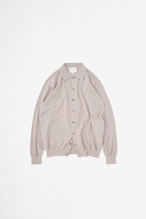 Spread collar cardigan pink beige