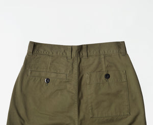 Straight leg trousers washed cotton army green