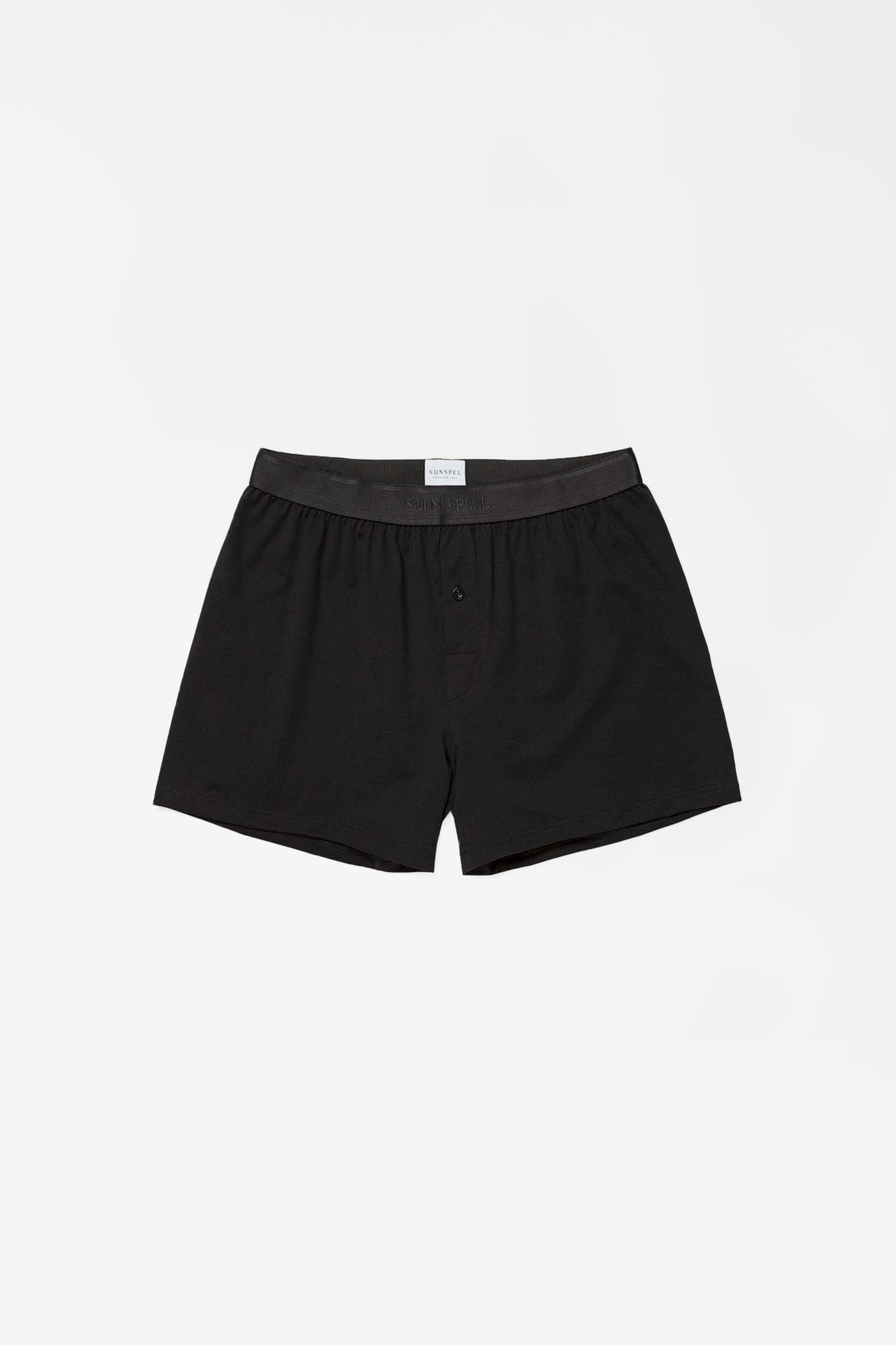 Superfine cotton 1 button short black