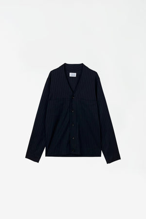 Threat overshirt navy pin stripe