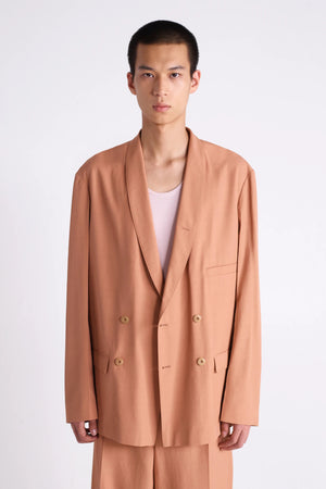 Unisex double breasted jacket camel