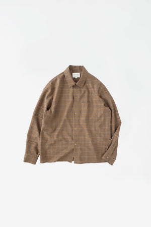 Washable wool shirt brown check