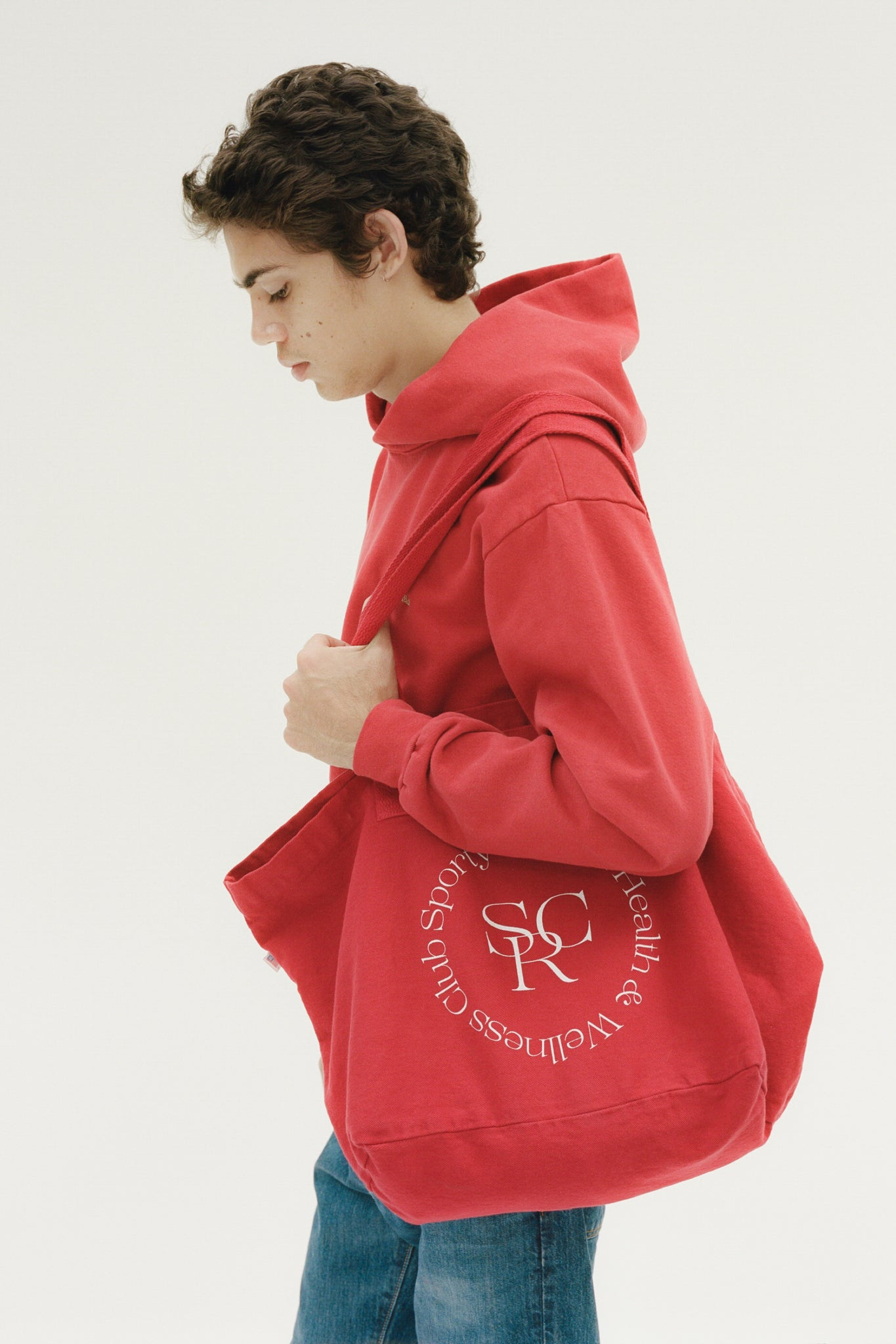 Wellness logo tote red/white print