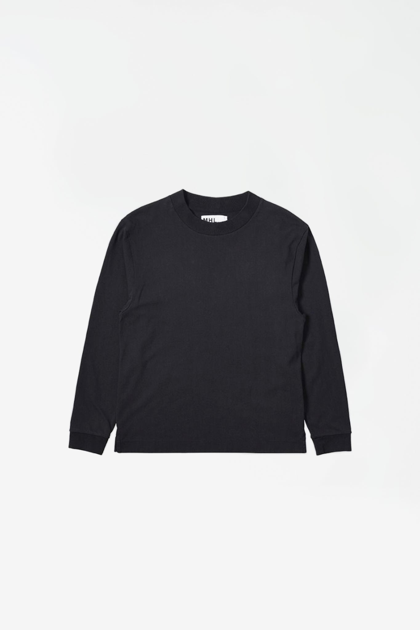 Wide crew neck matt cotton jersey black