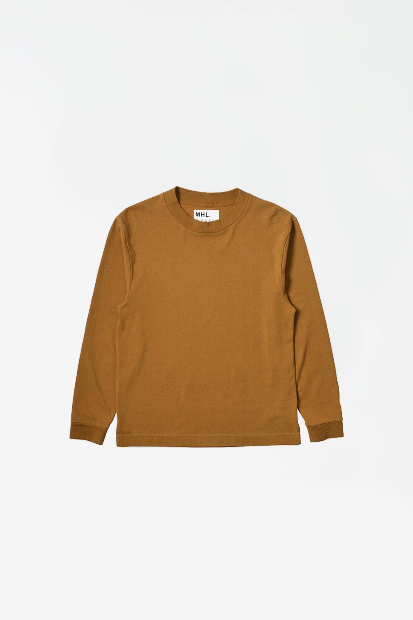 Wide crew neck matt cotton jersey ochre