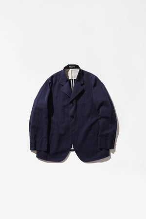Work jacket cotton/linen herringbone navy