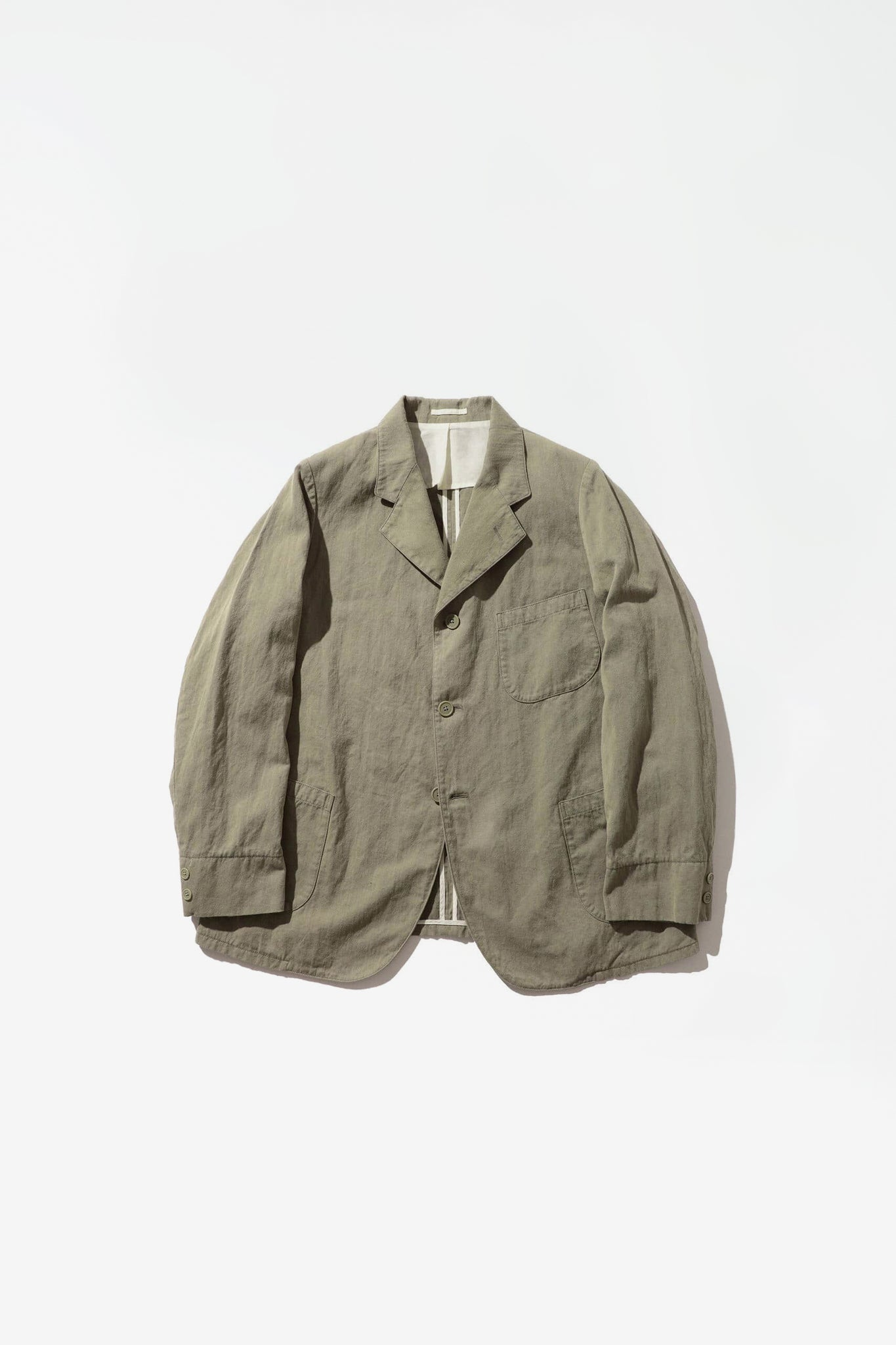 Work jacket cotton/linen herringbone olive
