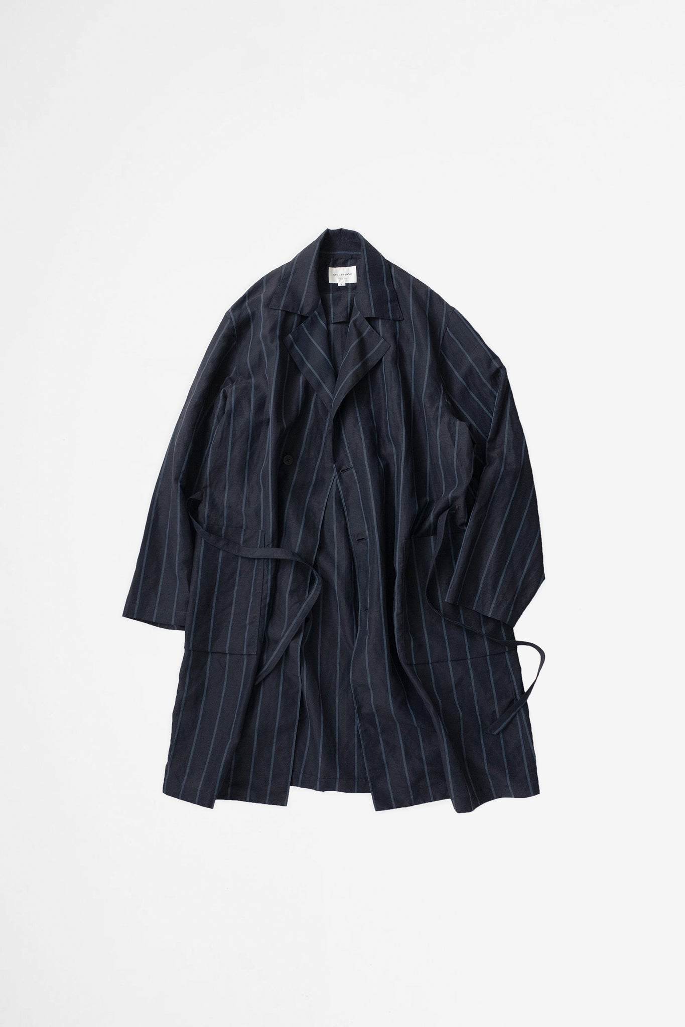 Wrap coat navy stripe