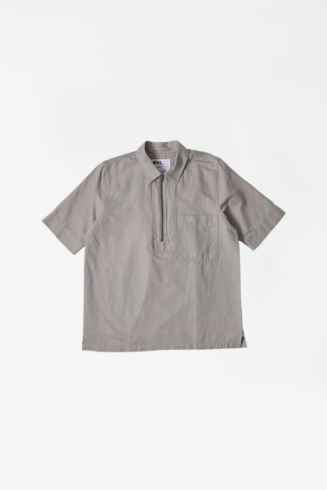 Zip fly shirt cotton linen cloud