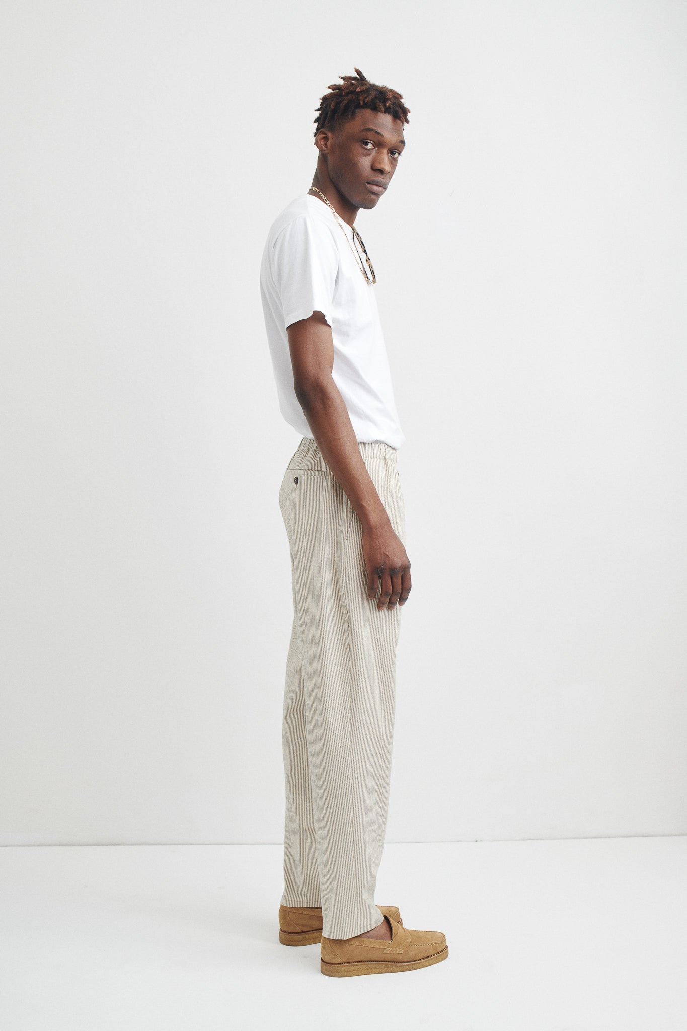 Elasticated wide trousers brown stripe