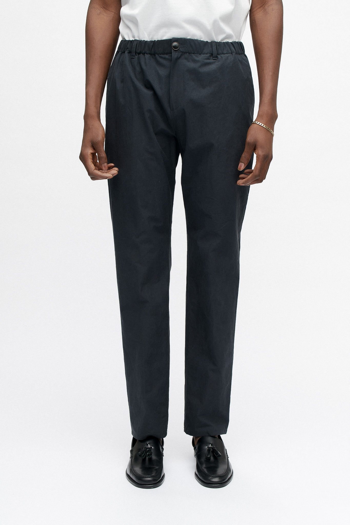 Elasticated wide trousers washed navy