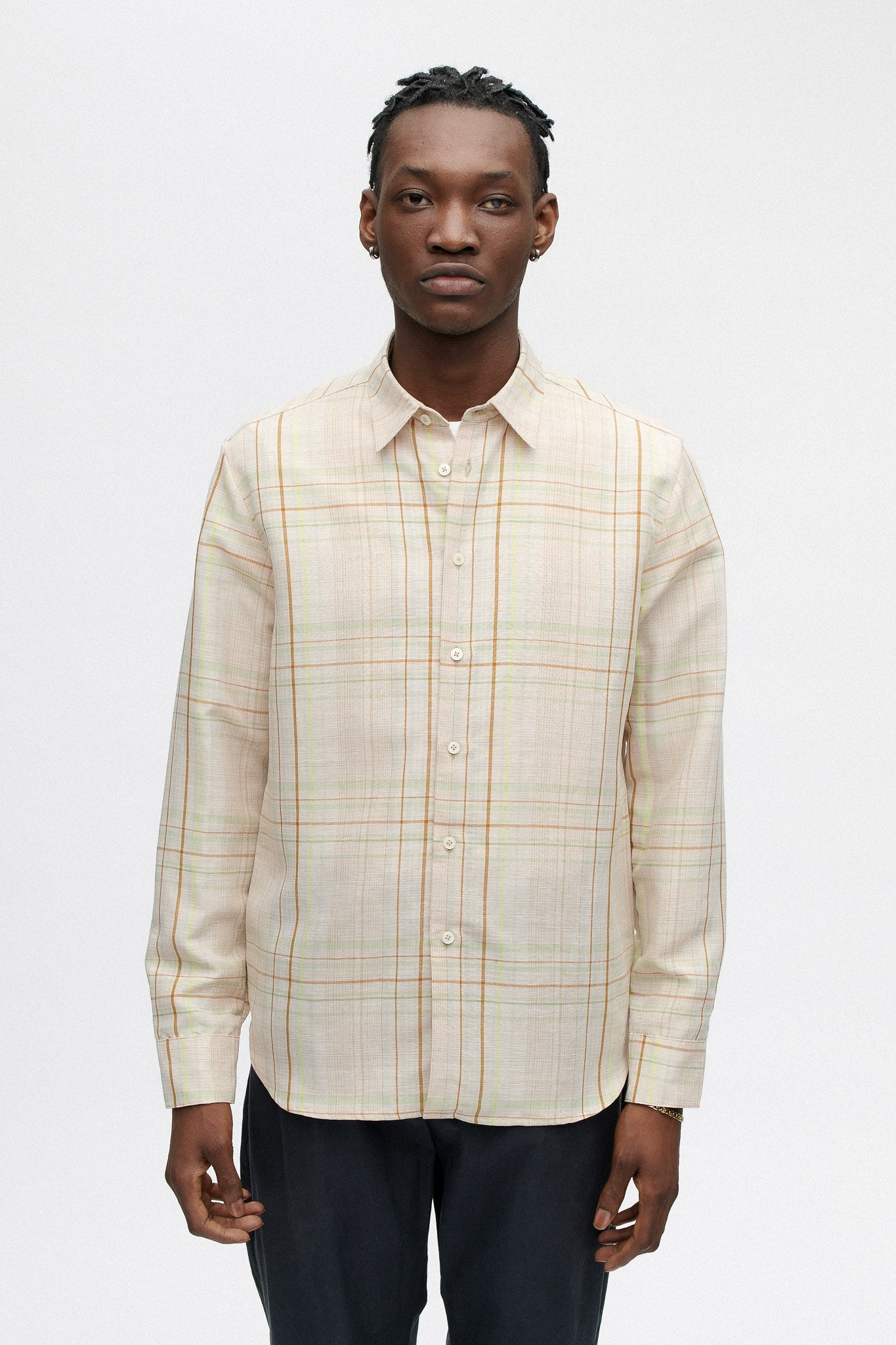 Flores shirt aloe check