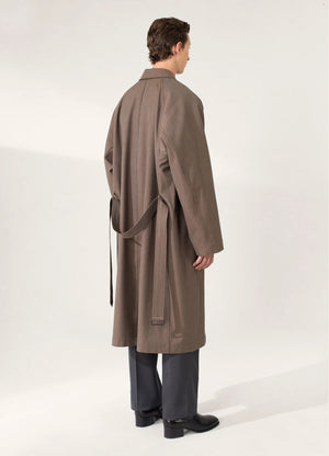 Military overcoat ocre brown