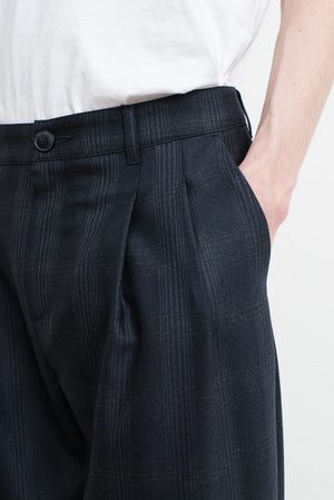 Pleated Wide Trousers dark check